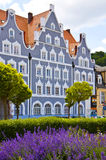 Springtime in Landshut, typical house and sage flowerbed Stock Images