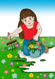Springtime: little girl dreams to painting the springtime. A little girl dreams to painting the spring, with flowers and lawn Royalty Free Stock Photo