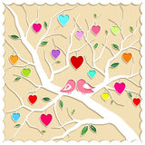 Springtime Love Tree and Birds. Illustration Royalty Free Stock Photo