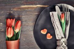 Springtime menu concept with fresh tulips and heart decoration o Royalty Free Stock Image