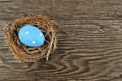 Springtime nest on wood Stock Photo