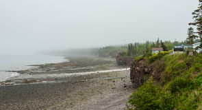Springtime Nova Scotia coastline in June fog, people at base of cliff exploring the pebble beaches. Stock Image