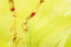 Springtime painting. Abstract yellow Springtime meadow, watercolor painting, Detail Royalty Free Stock Photo