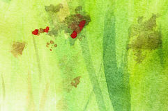 Springtime painting. Springtime meadow, Abstract watercolor painting, Detail Stock Images