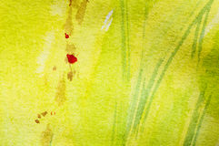 Springtime painting. Yellow Springtime meadow, Abstract watercolor painting, Detail Royalty Free Stock Photo