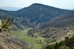 Springtime panorama of mountain landscape with forest and beauty meanders river in valley Stock Photography