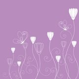 Springtime purple white floral butterfly wallpaper Royalty Free Stock Image