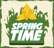 Springtime Retro Poster, Vector Illustration Royalty Free Stock Photo