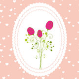Springtime rose flowers greeting card. On pink background Royalty Free Stock Photo