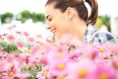 Springtime, smiling woman in garden of daisies flowers Royalty Free Stock Photography