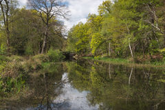 Springtime Sunshine at Canal Lock Royalty Free Stock Images