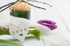 Springtime table decoration with tulip Stock Image