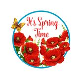 Springtime vector icon of poppy flowers bloom Stock Photo