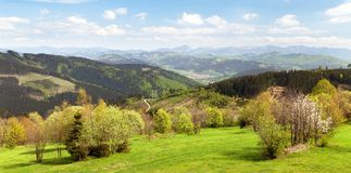 Springtime view from Javorniky to Mala Fatra mountains. Carpathian Mountains, Slovakia Stock Images