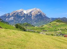 Springtime view in Nidwalden with Mt. Pilatus in the background Royalty Free Stock Image
