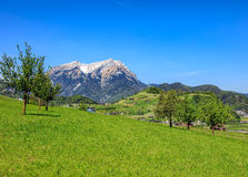 Springtime view in Nidwalden with Mt. Pilatus in the background Stock Image