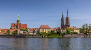 Springtime view of Ostrow Tumski and the river. Wroclaw, Poland stock photos