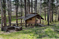 Springtime view with place for respite in the glade Royalty Free Stock Photography