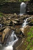 Springtime Waterfalls. The middle falls of Hills Creek in Monongahela National Forest in southern West Virginia Royalty Free Stock Photography
