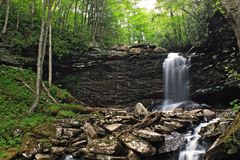 Springtime Waterfalls. The middle falls of Hills Creek in Monongahela National Forest in southern West Virginia Royalty Free Stock Image