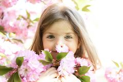 Springtime. weather forecast. Little girl in sunny spring. face and skincare. allergy to flowers. Summer girl fashion stock photo