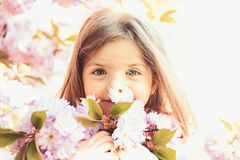 Springtime. weather forecast. Little girl in sunny spring. face and skincare. allergy to flowers. Summer girl fashion royalty free stock photography