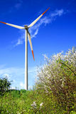 Springtime and wind turbine Royalty Free Stock Images