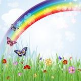 Springtimebakgrund med regnbågen Fotografering för Bildbyråer