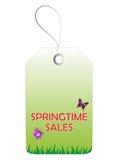 Springtimeförsäljningsetikett Arkivfoto