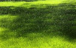 Sprinkers dell'acqua in un campo Immagini Stock Libere da Diritti