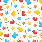 Sprinkle cake pattern multicolored figurines rabbit bunny chicken duckling stars. Sprinkling for Easter cake in the form of colorful figures on a white Royalty Free Stock Photos