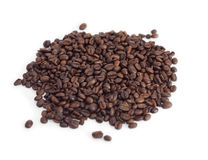 Sprinkle of coffee beans on white Stock Image