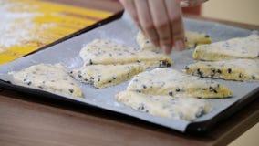 Sprinkle with sugar scones. Make scones. HD stock video footage