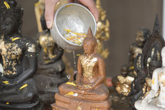 Sprinkle water onto a Buddha image, Season background Stock Photography