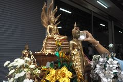 Sprinkle water onto a Buddha in Songkran festival day. Sprinkle water onto a Buddha in Songkran festival Stock Images