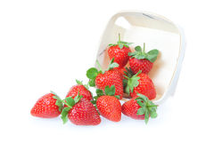 Sprinkled strawberry from the basket. Royalty Free Stock Photo