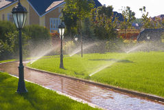Sprinkler of automatic watering Royalty Free Stock Image