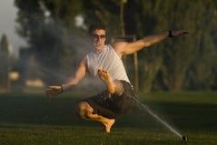 Sprinkler fun time Royalty Free Stock Images