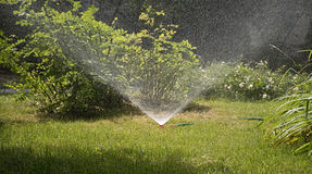 SPRINKLER IN THE GARDEN Stock Photography