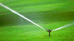 Sprinkler on Grass Stock Photo