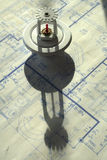 Sprinkler Head and Shadow. Sprinkler head with shadow on house blueprints Royalty Free Stock Photos