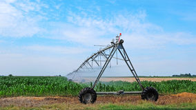 Sprinkler irrigation system on agriculture field Royalty Free Stock Images