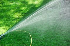 Sprinkler on lawn Stock Photo