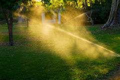 Free Sprinkler Of Automatic Watering Grass Stock Photography - 25863632