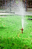 Sprinkler in the park Stock Photo