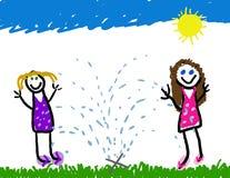 Sprinkler playtime fun. Two girls outside enjoying summer time in the sprinklers Royalty Free Stock Photo