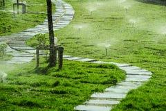 Sprinkler spraying water Stock Photography