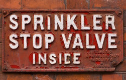 Sprinkler stop valve sign Royalty Free Stock Image