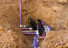 Sprinkler System Installation Royalty Free Stock Image