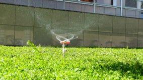 Sprinkler system working on fresh green grass. stock footage